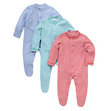 Buy John Lewis Stripe Cotton Sleepsuits, Pack of 3, Multi Online at johnlewis.com