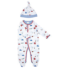 Buy John Lewis Dog Print Sleepsuit and Hat, White Online at johnlewis.com