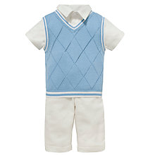 Buy John Lewis Baby Linen Outfit, Cream/Blue Online at johnlewis.com