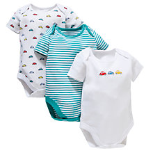 Buy John Lewis Baby Short Sleeve Car Bodysuit, Pack of 3, Multi Online at johnlewis.com
