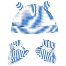 Buy John Lewis Baby's Stripe Hat and Bootie Set, Blue/White Online at johnlewis.com