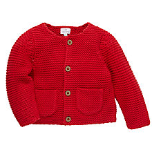 Buy John Lewis Baby's Chunky Knit Cardigan, Red Online at johnlewis.com