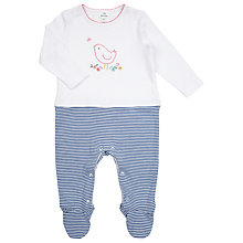 Buy John Lewis Baby Layette Stripe Bird Sleepsuit, White/Blue Online at johnlewis.com