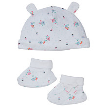 Buy John Lewis Baby's Floral Hat and Bootie Set, White/Pink Online at johnlewis.com