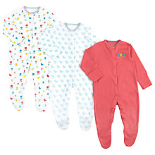Buy John Lewis Baby Bird & Flower Sleepsuit, Pack of 3, Pink/White Online at johnlewis.com