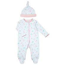 Buy John Lewis Baby Bunny and Duck Print Sleepsuit & Hat, Blue Online at johnlewis.com