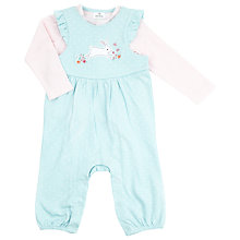 Buy John Lewis Baby Rabbit Dungaree Set, Blue/Pink Online at johnlewis.com