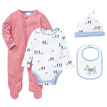 Buy John Lewis Baby Dog & Striped Sleepsuit Set, Pack of 4, Blue Online at johnlewis.com