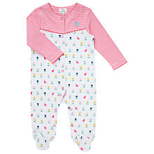 Buy John Lewis Baby Bird & Flower Sleepsuit, White/Pink Online at johnlewis.com
