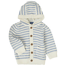 Buy John Lewis Baby's Chunky Knit Hooded Cardigan, Blue/Cream Online at johnlewis.com