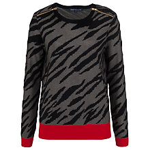 Buy French Connection Tiger Knit Jumper, Black Online at johnlewis.com