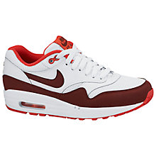 Buy Nike Air Max 1 Essential Leather Women's Trainers, White/Team Red Online at johnlewis.com