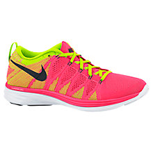 Buy Nike Flyknit Lunar2 Women's Running Shoes, Pink/Green Online at johnlewis.com