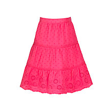 Buy John Lewis Girl Three Tiered Broderie Skirt, Pink Online at johnlewis.com