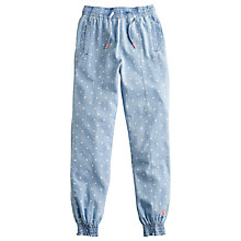 Buy Little Joule Girls' Finola Spot Denim Trousers, Blue Online at johnlewis.com