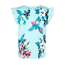 Buy John Lewis Girl Flora & Fauna Print T-Shirt, Aqua Online at johnlewis.com