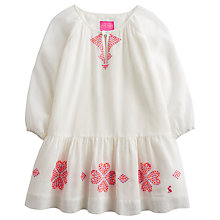 Buy Little Joule Girls' Joni Woven Cotton Kaftan, Cream Online at johnlewis.com
