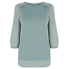 Buy Oasis Woven Detail Pull On Top, Teal Green Online at johnlewis.com