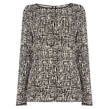 Buy Oasis Texture Print Long Sleeve Tee, Black and White Online at johnlewis.com