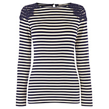 Buy Oasis Lace Trim Stripe T-shirt, Multi Blue Online at johnlewis.com