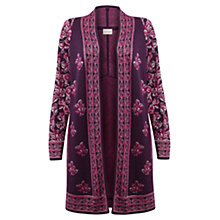 Buy East Clara Jacquard Cardigan, Plum Online at johnlewis.com