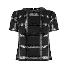 Buy Oasis Tartan Check Collar T-shirt, Black/White Online at johnlewis.com