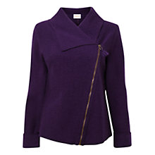Buy East Boiled Wool Biker Jacket, Plum Online at johnlewis.com