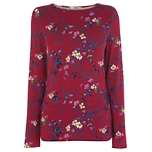 Buy Oasis Shadow Floral Print Tee, Multi Purple Online at johnlewis.com