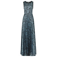 Buy Reiss Angelo Pleated Full-Length Dress, Blue / Black Online at johnlewis.com