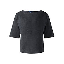 Buy Jigsaw Cotton Herringbone Kimono Sleeve Top, Blue Online at johnlewis.com