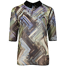 Buy Ted Baker Parquet Geo Print Collar Top, Green Online at johnlewis.com