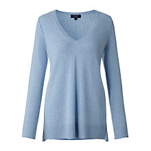 Buy Jigsaw Cashmere V-Neck Jumper, Light Blue Online at johnlewis.com