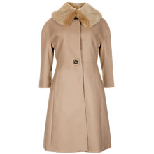 Buy Ted Baker Detachable Fur Collar Coat, Taupe Online at johnlewis.com
