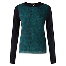 Buy Jigsaw Denim Silk Front Jumper, Teal Online at johnlewis.com