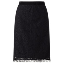 Buy Jigsaw Fitted Lace Pencil Skirt, Black Online at johnlewis.com