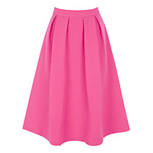 Buy Oasis Oriental Jacquard Midi Skirt, Bright Pink Online at johnlewis.com