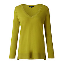 Buy Jigsaw Cashmere V-Neck Jumper, Olive Online at johnlewis.com