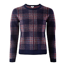 Buy Jigsaw Brushed Tartan Wool Sweater, Navy Online at johnlewis.com