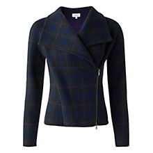 Buy Jigsaw Wool Knitted Check Biker Jacket, Khaki Online at johnlewis.com