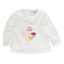 Buy John Lewis Birdy Motif Long Sleeve T-Shirt, White Online at johnlewis.com