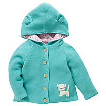 Buy John Lewis Hooded Cardigan with Ears, Green Online at johnlewis.com