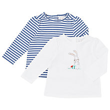 Buy John Lewis Baby's Bunny/Stripe Top, Pack of 2, White/Blue Online at johnlewis.com