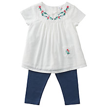 Buy John Lewis Embroidered Top and Leggings Set, White/Blue Online at johnlewis.com