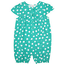 Buy John Lewis Baby Spot Poplin Playsuit, Green Online at johnlewis.com