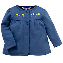 Buy John Lewis Floral Embroidered Jersey Cardigan, Navy Online at johnlewis.com