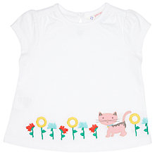 Buy John Lewis Embroidered Cat Top, White Online at johnlewis.com