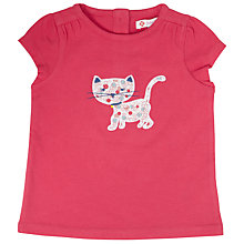 Buy John Lewis Ditsy Cat Applique T-Shirt, Pink Online at johnlewis.com