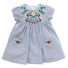 Buy John Lewis Stripe Floral Embroidered Dress, Navy/White Online at johnlewis.com