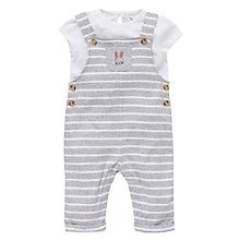 Buy John Lewis Stripe Dungaree and T-Shirt Set, Grey/White Online at johnlewis.com