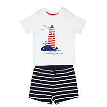 Buy John Lewis Lighthouse & Stripe T-Shirt & Shorts, White/Blue Online at johnlewis.com
